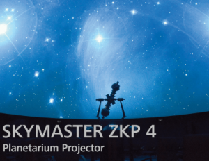 ZEISS SKYMASTER ZKP 4 Planetarium Projector for level-horizon domes with diameters of 6 to 14 m. This model is the ideal optical-mechanical companion to team up with ZEISS fulldome systems, such as powerdome®VELVET and powerdome®SPACEGATE Nova.